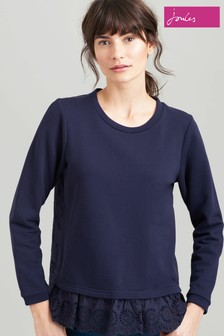 Joules Blue Giselle Sweatshirt With Scalloped Edge