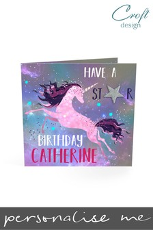 Personalised Unicorn Birthday Single Card by Croft Designs