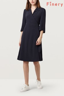 Finery Midnight Blue Bramble Wrap Dress