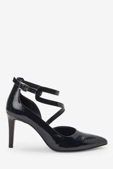 High Cut Asymmetric Strap Pointed Shoes