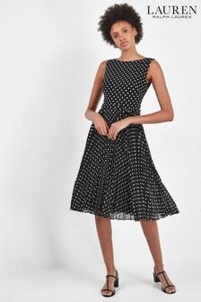 Lauren Ralph Lauren® Black Pleated Polka Dot Florin Dress
