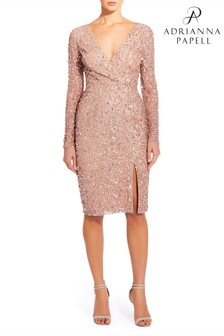 Adrianna Papell Pink Plus Beaded Wr Dress