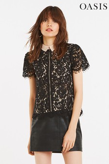 Oasis Black Lace Collar Top