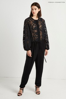 French Connection - Zwarte Devore jumpsuit met pofmouwen