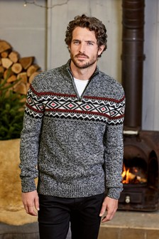Fairisle Pattern Zip Neck Jumper
