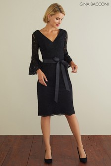 Gina Bacconi Black Andrea Scallop Lace Dress