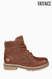 FatFace Brown Suede Leather Mix Lace-Up Boot