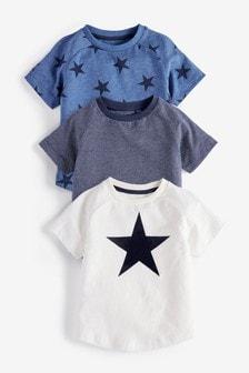 Lot de trois t-shirt à imprimé étoile et manches courtes (3 mois - 7 ans)