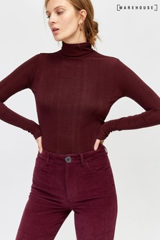 Warehouse Red Slinky Roll Neck Top
