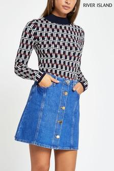 River Island Blue Denim Button Through Mini Skirt