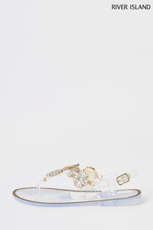 River Island White Clear Toe Post Jelly Sandals