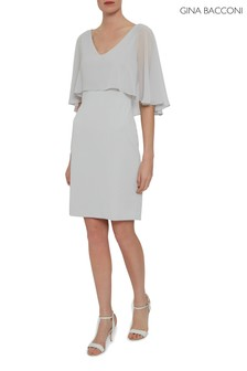 Gina Bacconi Silver Adele Moss Crepe And Chiffon Dress