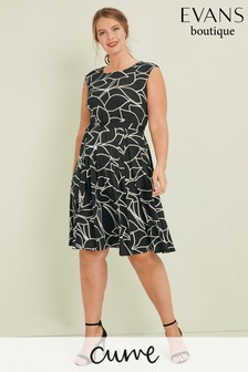 Evans Multi Curve Black/White Pretty Woman Dress