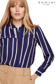 Damsel In A Dress Blue Astrid Stripe Gold Button Blouse