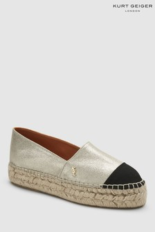 Kurt Geiger Gold Leather Morella Espadrille