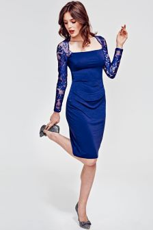 HotSquash Royal Blue Lace Sleeve Hostess Dress