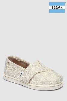 Toms Natural Daisy Embroidered Slip-On