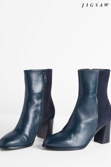 Jigsaw Navy Mai Contrast Heeled Boot