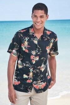 Hawaiian Scene Print Slim Fit Shirt