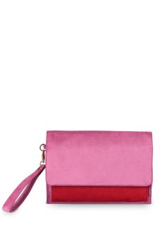 Oliver Bonas Red/Pink Etta Velvet Colourblock Clutch Bag