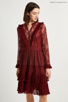 French Connection Red Lace Mix Dress
