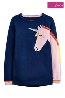 Joules Blue Gee Gee Girls Novelty Knitted Jumper