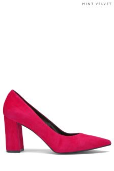 Mint Velvet Pink May Suede Block Heel Court