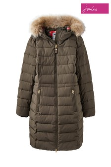 Joules Green Sefton Longline Puffa With Fur Hood Trim