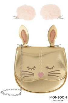 Monsoon Gold Chester Pom Clip Cat Bag