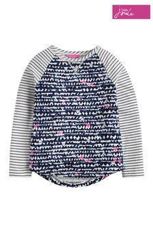Joules Grey Marl Painted Floral Print Mix Top