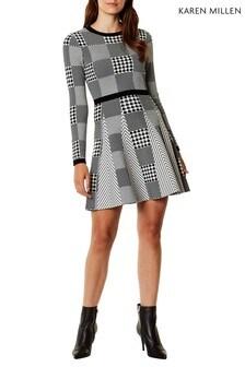 Karen Millen Black Mixed Check Knit Dress