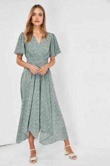 Shirred Waist Maxi Dress