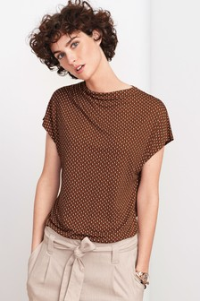 Cowl Neck Boxy T-Shirt