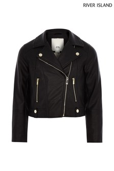 River Island Black PU Biker Jacket