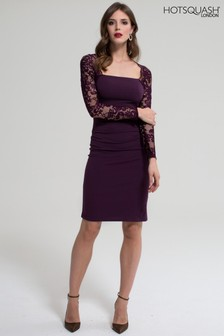 HotSquash Damson Lace Sleeve Hostess Dress