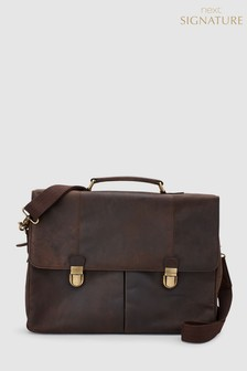 Signature Oily Leather Two Pocket Briefcase