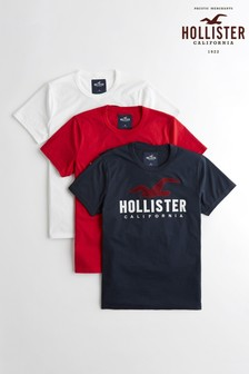 Hollister White/Red/Navy Logo Tee Three Pack