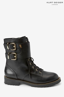 Kurt Geiger London Black Sutton Lace-Up Boots