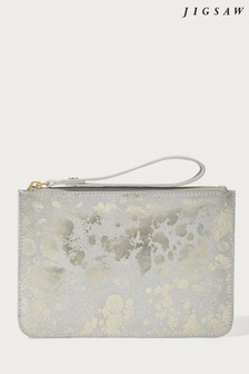 Jigsaw Silver Nova Leather Wristlet Clutch