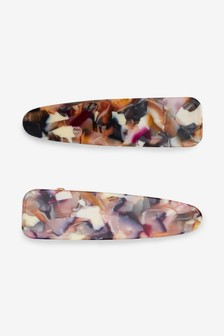 Resin And Metal Hair Clips Two Pack