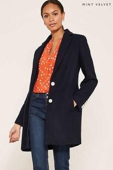 Mint Velvet Blue Contrast Button Lux Boyfriend Coat