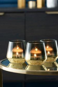 Goldfarbene Teelichthalter aus Glas, 3er-Set