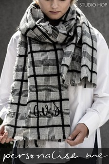 Personalised Check Twill Scarf by Studio Hop