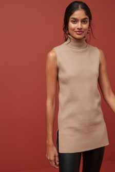 Sleeveless Funnel Neck Jumper Dress