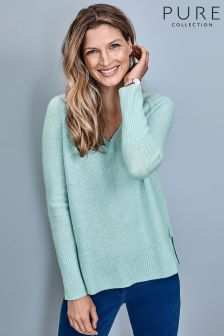 Pure Collection Blue Gassato Lofty Textured V-Neck Sweater