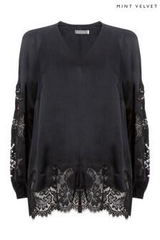 Mint Velvet Black Lace Insert Blouson