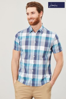 Joules Blue Wilson Short Sleeve Classic Fit Shirt