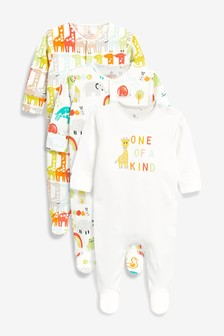 Giraffe Embroidered Sleepsuits Three Pack (0mths-2yrs)