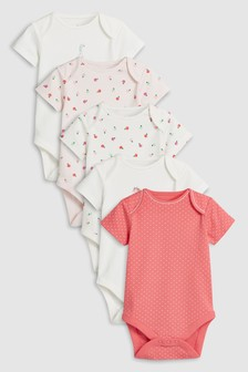 Farm Animal Short Sleeve Bodysuits Five Pack (0mths-2yrs)