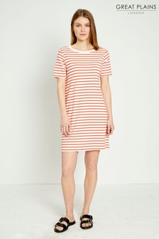 Great Plains Red Monroe Stripe Round Neck Dress
